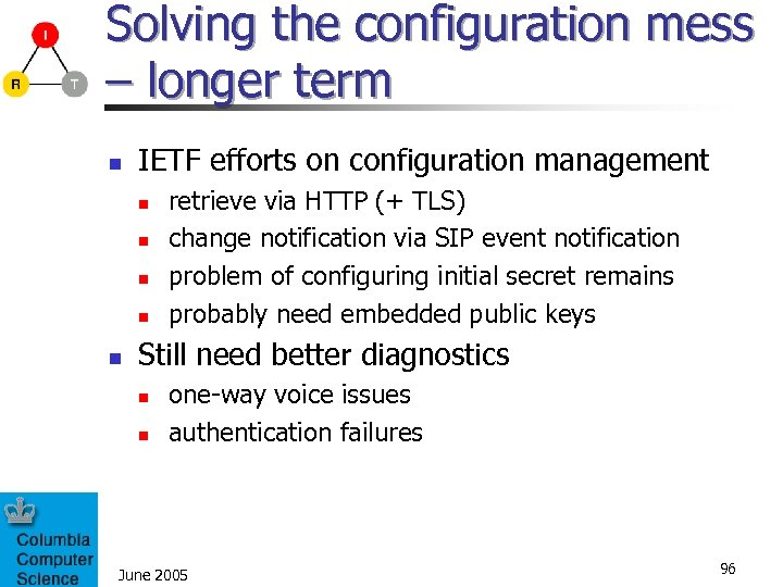 Solving the configuration mess – longer term n IETF efforts on configuration management n