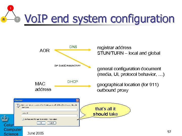 Vo. IP end system configuration AOR DNS SIP SUBSCRIBE/NOTIFY MAC address DHCP registrar address