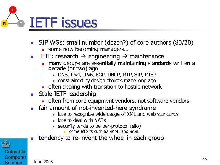 IETF issues n SIP WGs: small number (dozen? ) of core authors (80/20) n