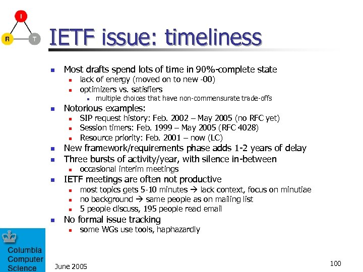 IETF issue: timeliness n Most drafts spend lots of time in 90%-complete state n