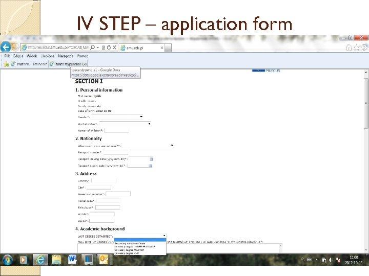 IV STEP – application form.