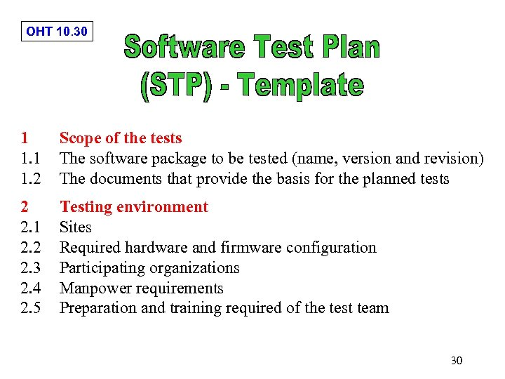 OHT 10. 30 1 1. 2 Scope of the tests The software package to