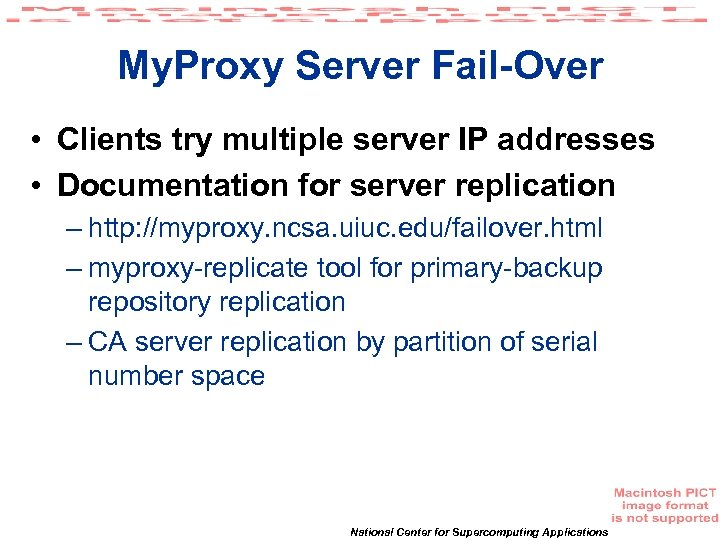 My. Proxy Server Fail-Over • Clients try multiple server IP addresses • Documentation for