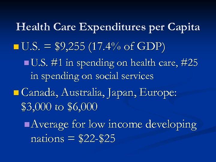 Health Care Expenditures per Capita n U. S. = $9, 255 (17. 4% of