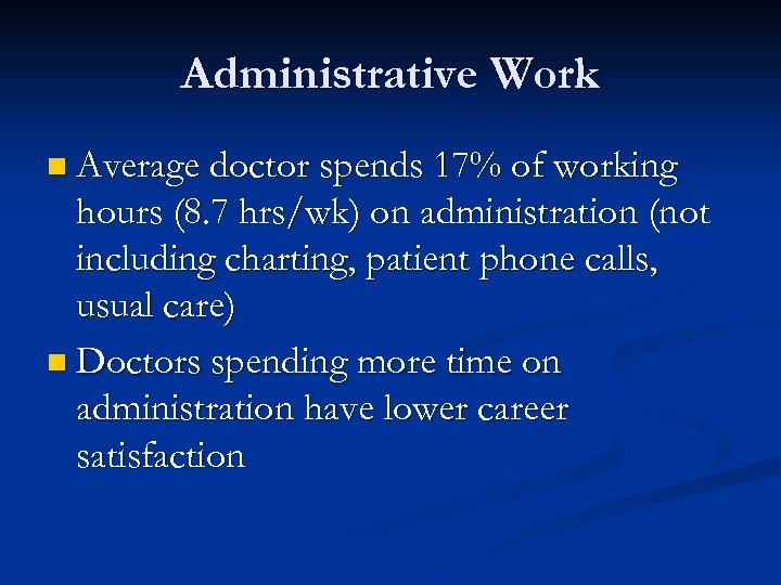 Administrative Work n Average doctor spends 17% of working hours (8. 7 hrs/wk) on