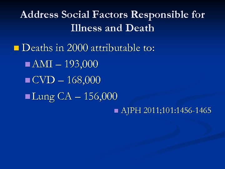 Address Social Factors Responsible for Illness and Death n Deaths in 2000 attributable to: