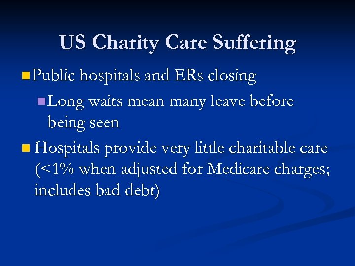 US Charity Care Suffering n Public hospitals and ERs closing n Long waits mean