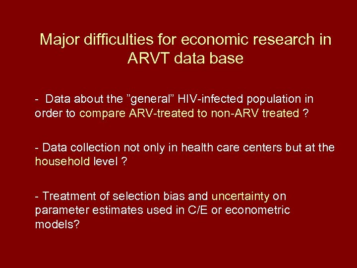 """Major difficulties for economic research in ARVT data base - Data about the """"general"""""""