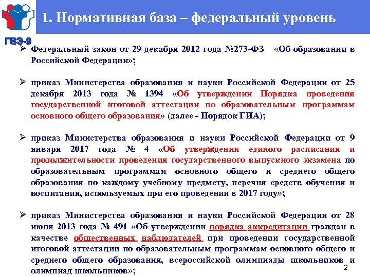 1. Нормативная база – федеральный уровень ГВЭ-9 Ø Федеральный закон от 29 декабря 2012