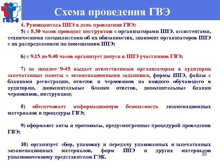 ГВЭ-9 Схема проведения ГВЭ 4. Руководитель ППЭ в день проведения ГВЭ: 5) с 8.