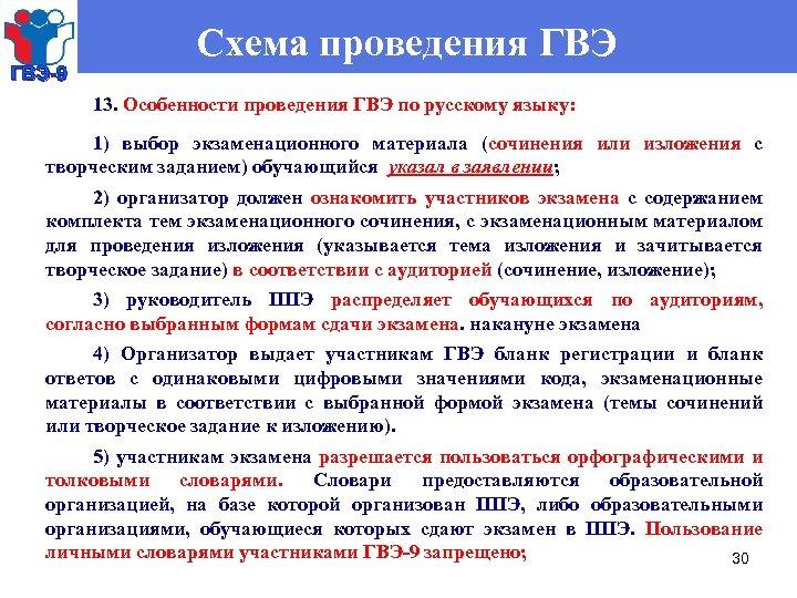 ГВЭ-9 Схема проведения ГВЭ 13. Особенности проведения ГВЭ по русскому языку: 1) выбор экзаменационного
