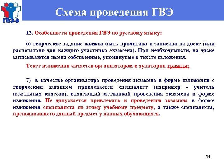 ГВЭ-9 Схема проведения ГВЭ 13. Особенности проведения ГВЭ по русскому языку: 6) творческое задание