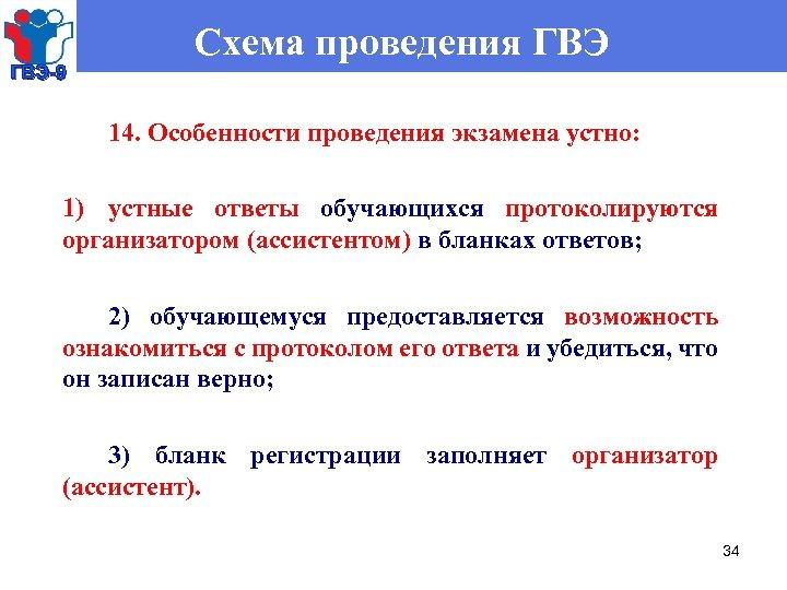 ГВЭ-9 Схема проведения ГВЭ 14. Особенности проведения экзамена устно: 1) устные ответы обучающихся протоколируются