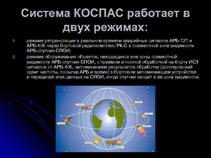 Система КОСПАС работает в двух режимах: 1. 2. режиме ретрансляции в реальном времени аварийных