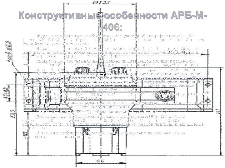 Конструктивные особенности АРБ-М 406: Изделие соответствует требованиям международной спецификации C/S T. 001 комитета КОСПАС-САРСАТ,