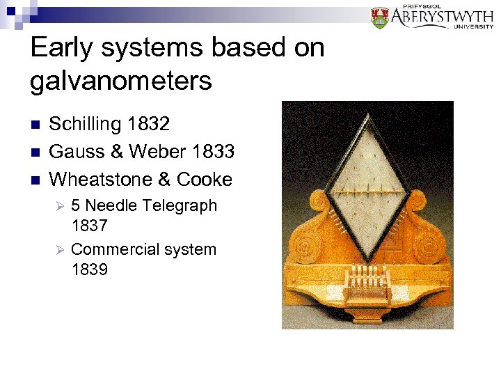 Early systems based on galvanometers n n n Schilling 1832 Gauss & Weber 1833