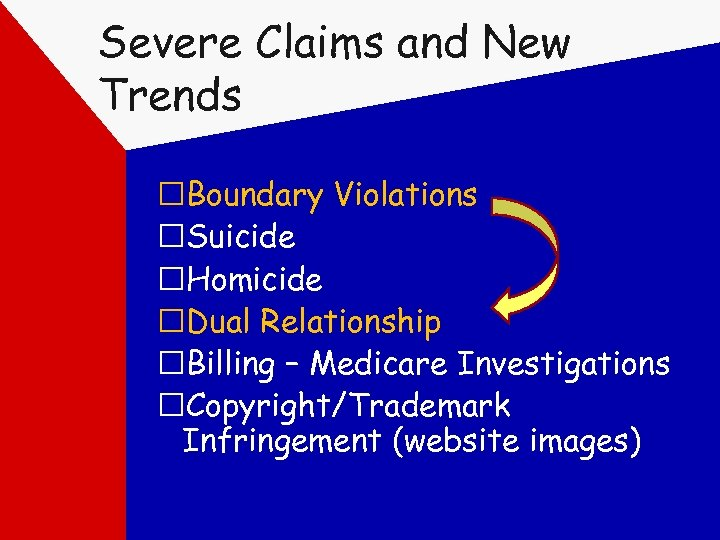 Severe Claims and New Trends Boundary Violations Suicide Homicide Dual Relationship Billing – Medicare