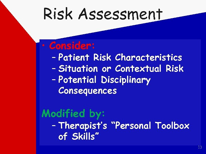Risk Assessment • Consider: – Patient Risk Characteristics – Situation or Contextual Risk –