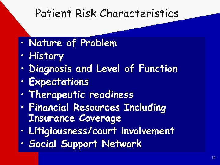 Patient Risk Characteristics • • • Nature of Problem History Diagnosis and Level of