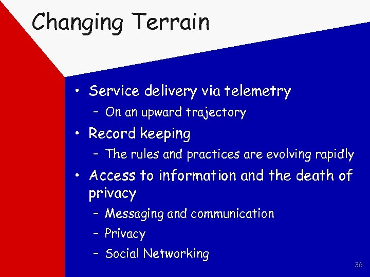 Changing Terrain • Service delivery via telemetry – On an upward trajectory • Record