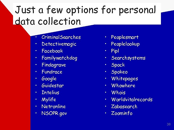 Just a few options for personal data collection • • • Criminal. Searches Detectivemagic