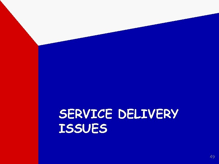 SERVICE DELIVERY ISSUES 49