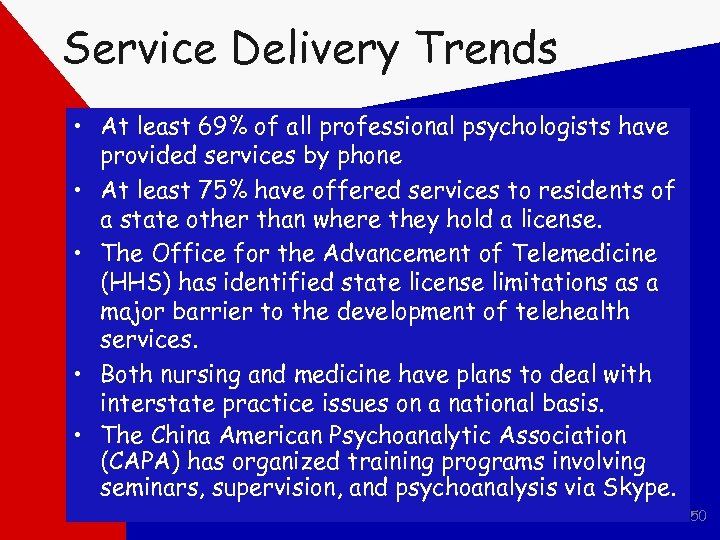 Service Delivery Trends • At least 69% of all professional psychologists have provided services