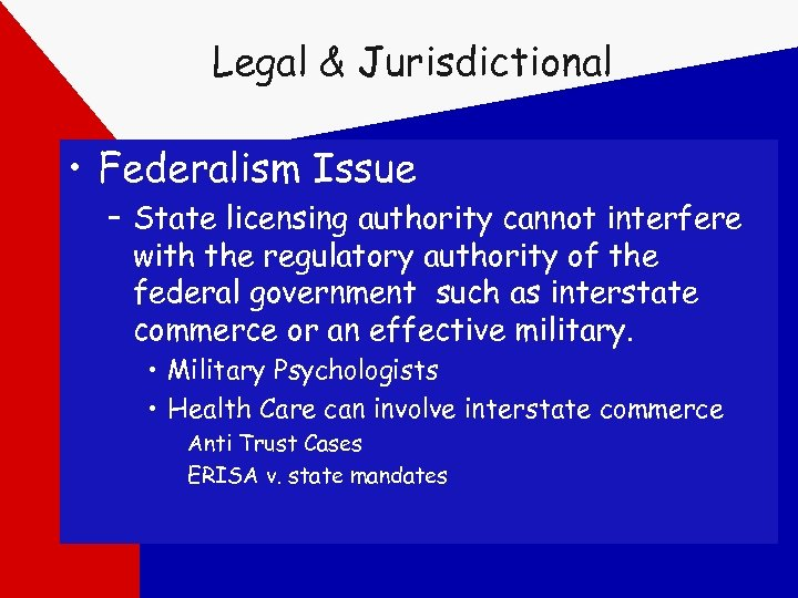 Legal & Jurisdictional • Federalism Issue – State licensing authority cannot interfere with the