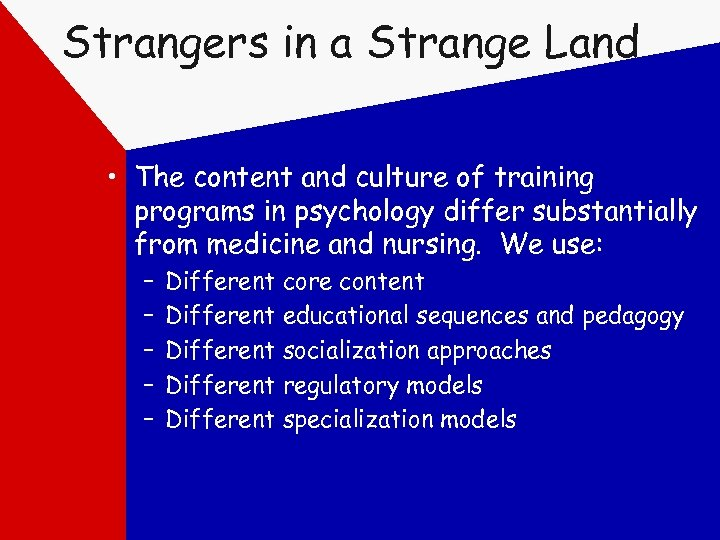Strangers in a Strange Land • The content and culture of training programs in
