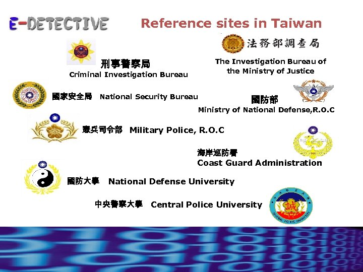 Reference sites in Taiwan The Investigation Bureau of the Ministry of Justice 刑事警察局 Criminal