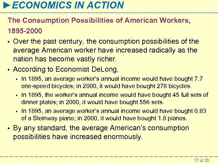►ECONOMICS IN ACTION The Consumption Possibilities of American Workers, 1895 -2000 § Over the