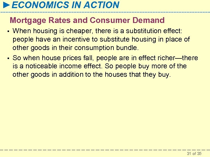 ►ECONOMICS IN ACTION Mortgage Rates and Consumer Demand § § When housing is cheaper,