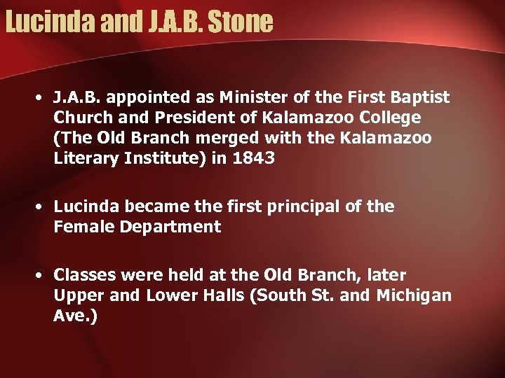 Lucinda and J. A. B. Stone • J. A. B. appointed as Minister of