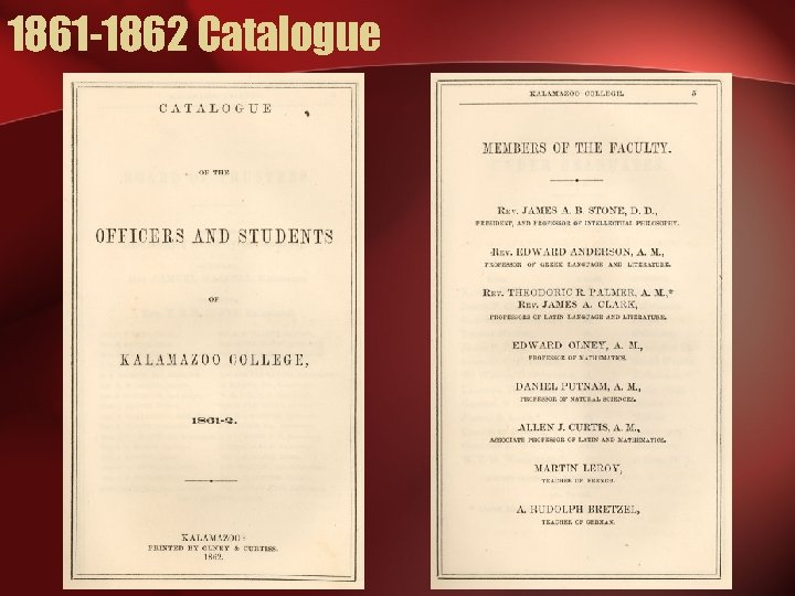 1861 -1862 Catalogue