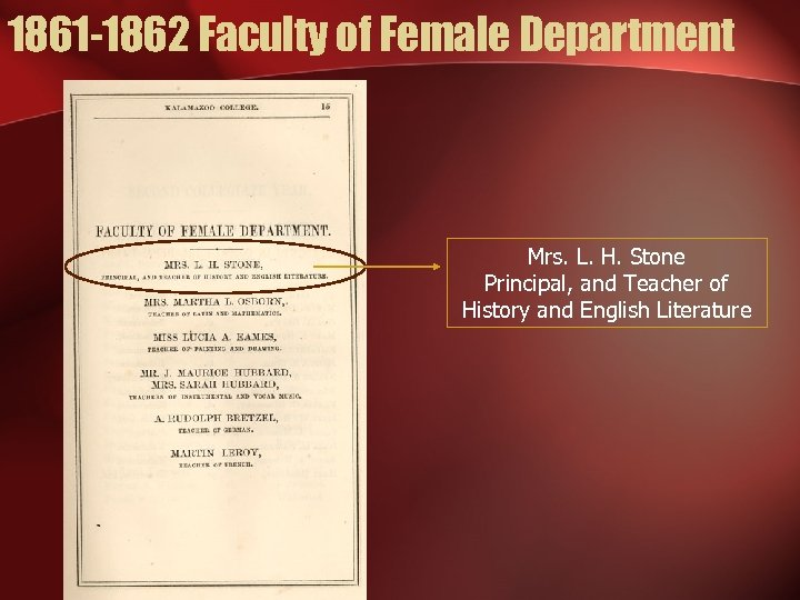 1861 -1862 Faculty of Female Department Mrs. L. H. Stone Principal, and Teacher of