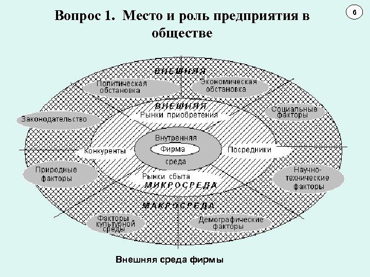 Вопрос 1. Место и роль предприятия в обществе Внешняя среда фирмы 6