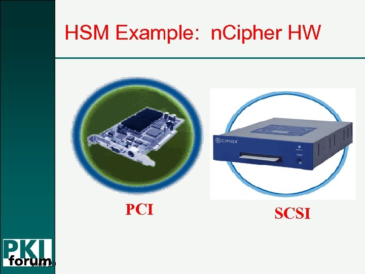 HSM Example: n. Cipher HW PCI slide 20 SCSI