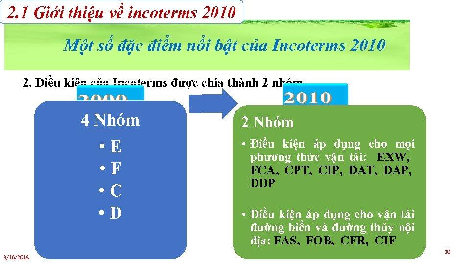 2. 1 Giới thiệu về incoterms 2010 Một số đặc điểm nổi bật của