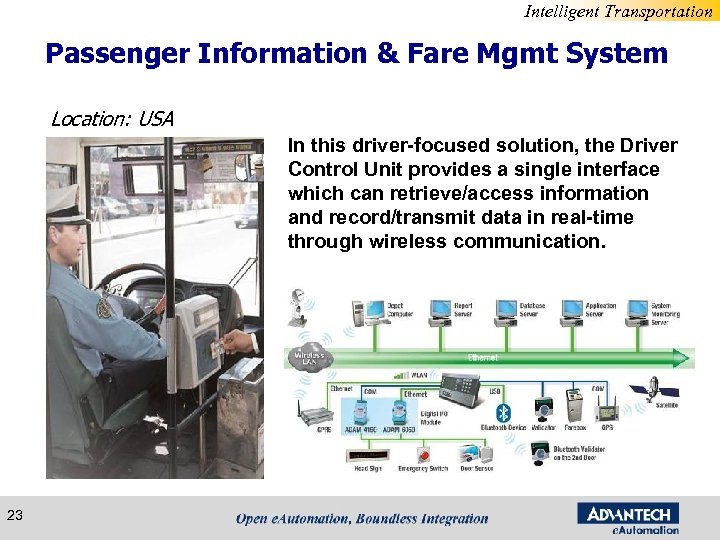 Intelligent Transportation Passenger Information & Fare Mgmt System Location: USA In this driver-focused solution,