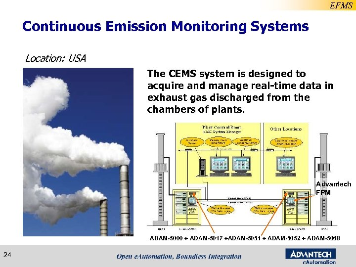 EFMS Continuous Emission Monitoring Systems Location: USA The CEMS system is designed to acquire