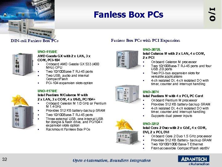 DIN-rail Fanless Box PCs UNO-1150/E AMD Geode GX with 2 x LAN, 3 x