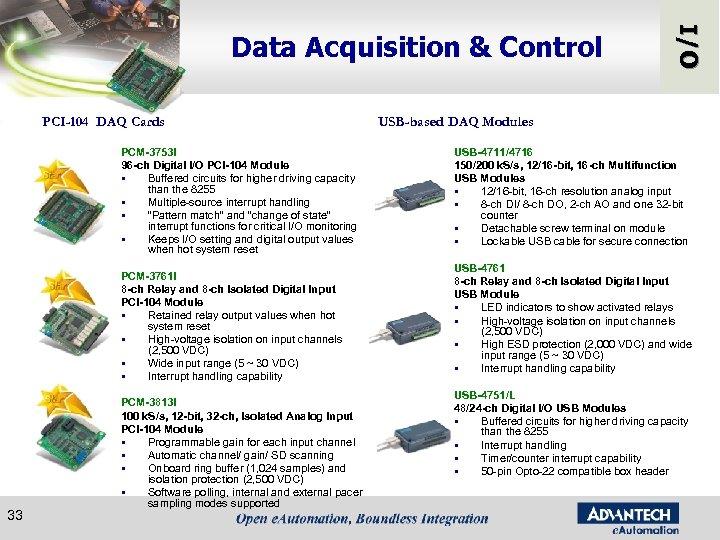 PCI-104 DAQ Cards PCM-3753 I 96 -ch Digital I/O PCI-104 Module § Buffered circuits