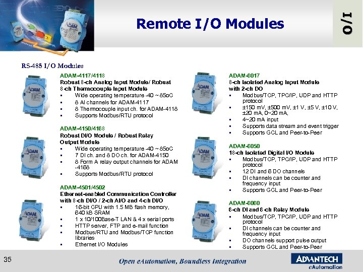 RS-485 I/O Modules ADAM-4117/4118 Robust 8 -ch Analog Input Module/ Robust 8 -ch Thermocouple