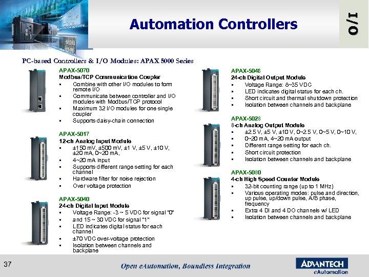 I/O Automation Controllers PC-based Controllers & I/O Modules: APAX 5000 Series APAX-5070 Modbus/TCP Communication