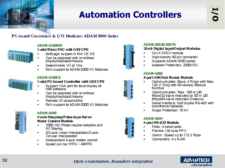 I/O Automation Controllers PC-based Controllers & I/O Modules: ADAM 5000 Series ADAM-5550 KW 8