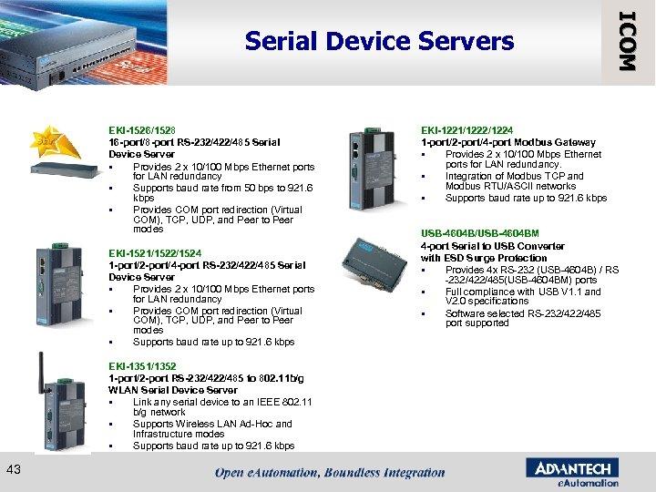 EKI-1526/1528 16 -port/8 -port RS-232/422/485 Serial Device Server § Provides 2 x 10/100 Mbps