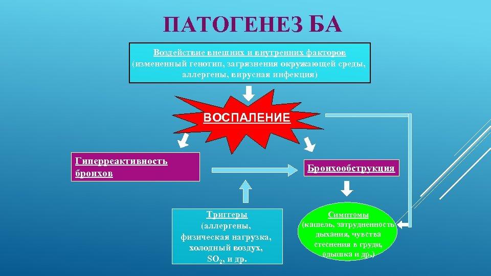 ПАТОГЕНЕЗ БА Воздействие внешних и внутренних факторов (измененный генотип, загрязнения окружающей среды, аллергены, вирусная