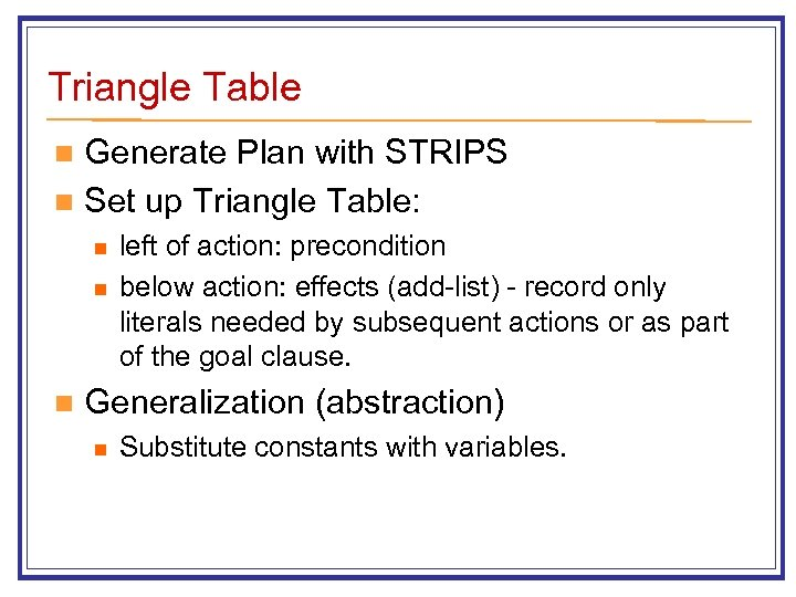 Triangle Table Generate Plan with STRIPS n Set up Triangle Table: n n left