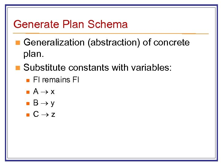 Generate Plan Schema Generalization (abstraction) of concrete plan. n Substitute constants with variables: n