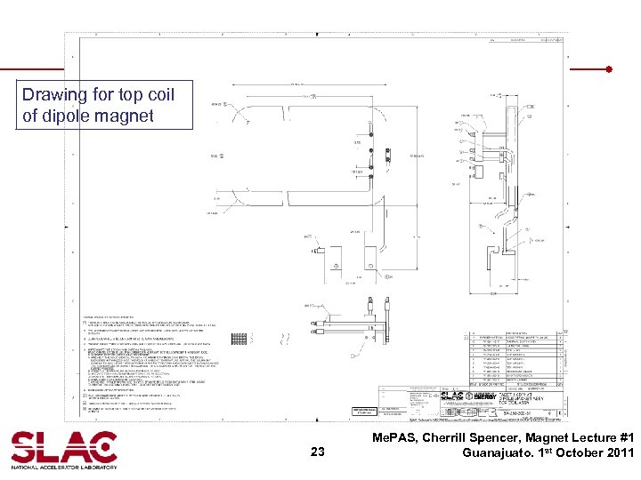 Drawing for top coil of dipole magnet 23 Me. PAS, Cherrill Spencer, Magnet Lecture